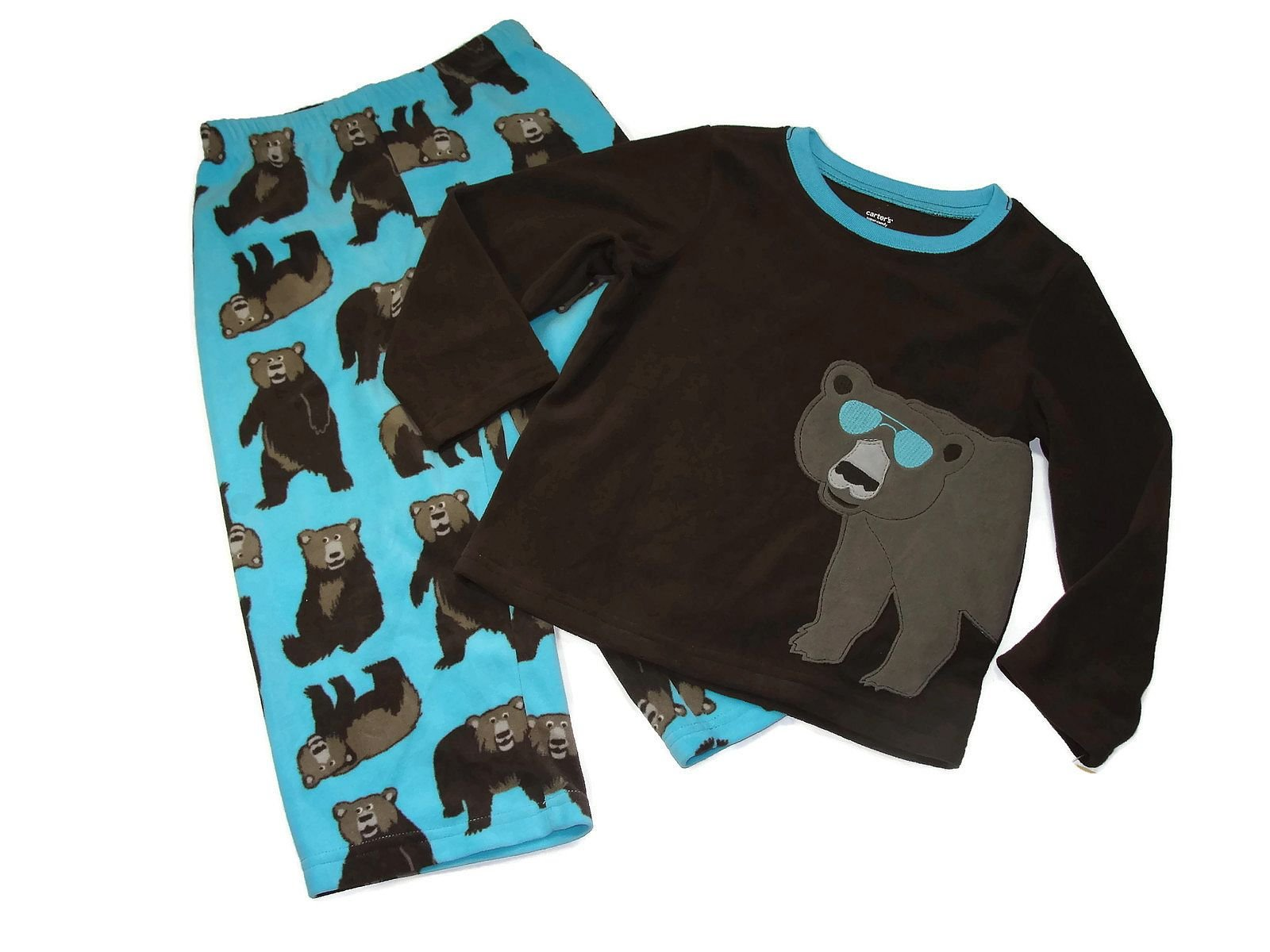 Carter's Boy's Size 4T Brown Bear with Sunglasses Fleece Pajama Set