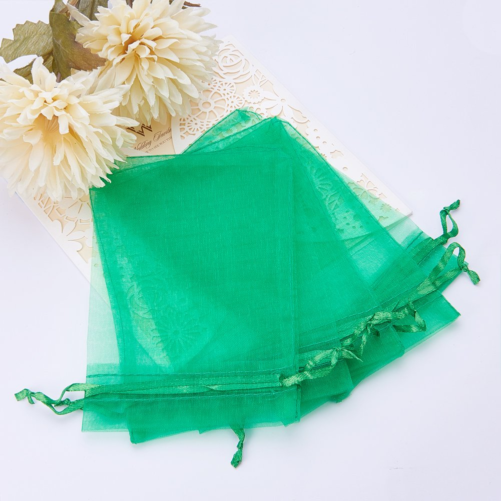 Rettangolo 15cm di Lunghezza PandaHall 100PCS Sacchetti Regalo Organza Pacchetti Saccgetti Portaconfetti per Gioielli Perline Circa 10cm di Larghezza Verde