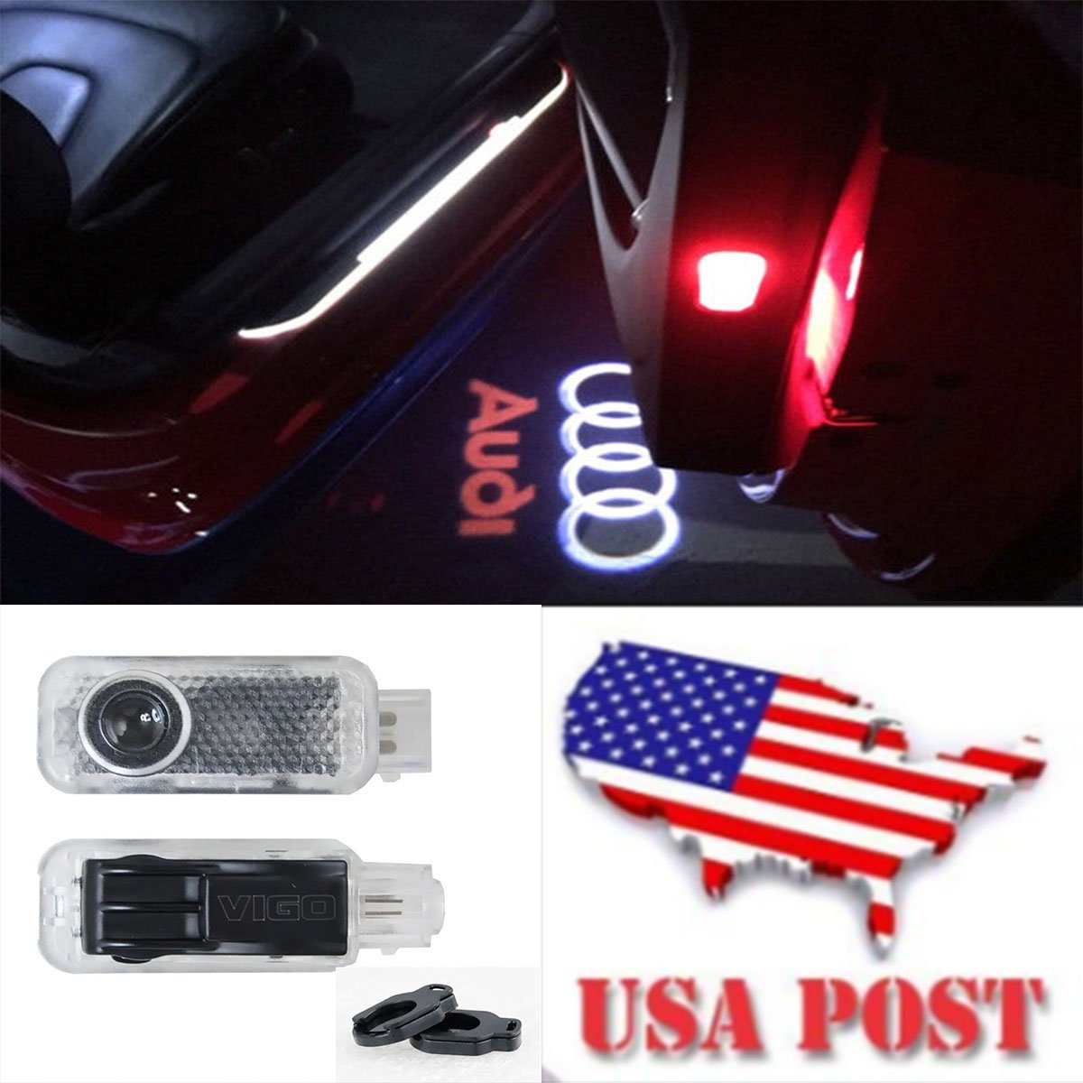 CNAutoLicht 2X Cree LED Door Step Courtesy Light Welcome Light Laser Shadow Logo Projector Lamp For Audi A1 A2 A3 A4 A5 A6 A7 A8 Q2 Q3 Q6 Q5 Q7 R8 TT RS4 RS5 RS6 RS7 S3 S4 S5 S6 S7 S8 #1