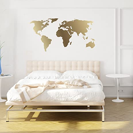 Amazon world map decal gold kiss cut world decal by world map decal gold kiss cut world decal by chromantics gumiabroncs Choice Image