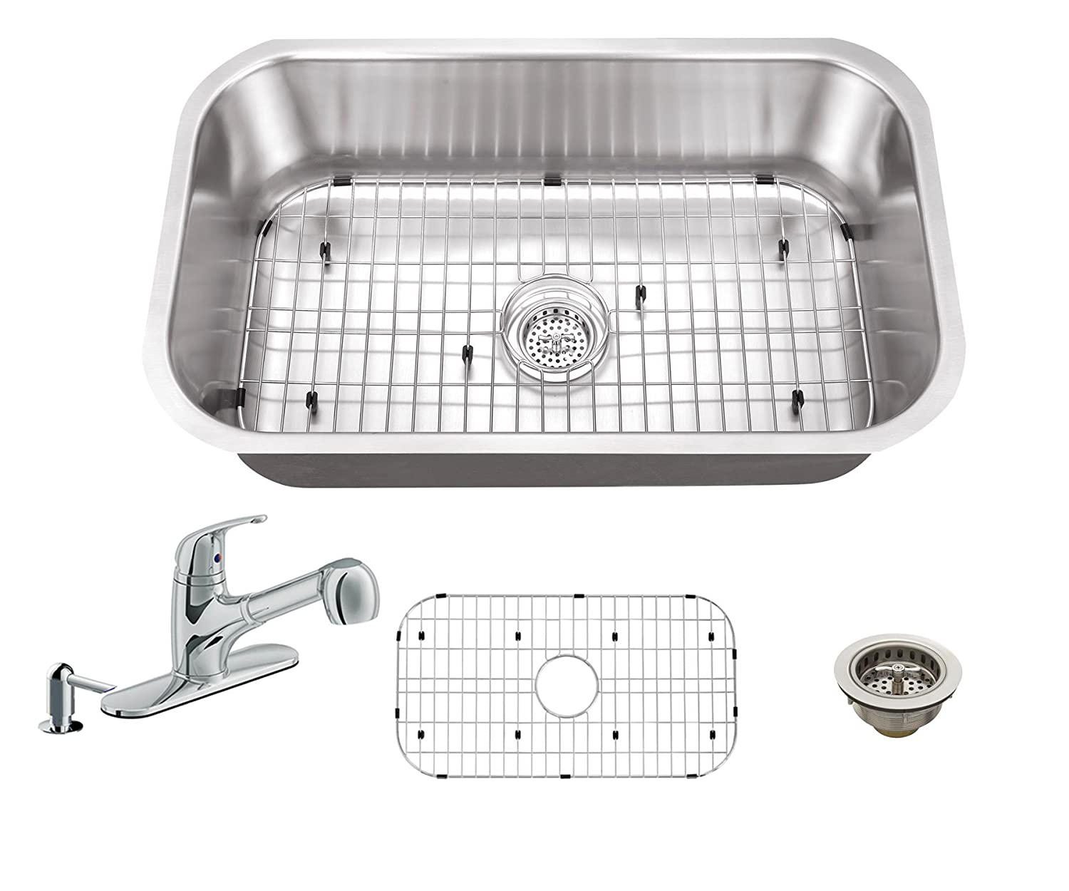31-1/2-in x 18-1/4-in 16 Gauge Stainless Steel Single Bowl Kitchen Sink with Low Profile Pull Out Kitchen Faucet