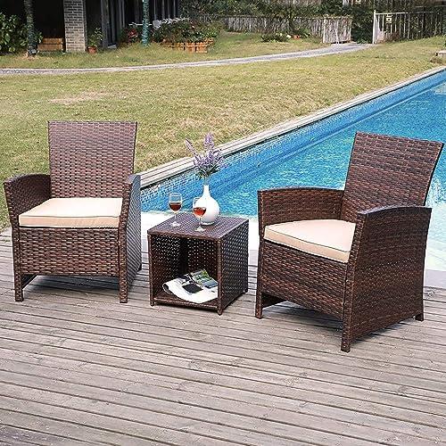 SUNSITT 3-Piece Wicker Outdoor Bistro Table Set with Beige Cushions, Brown Rattan