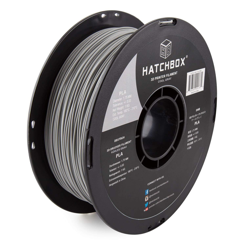 B015I1CYFE HATCHBOX PLA 3D Printer Filament, Dimensional Accuracy +/- 0.03 mm, 1 kg Spool, 1.75 mm, Gray 71KOjDCPx2BL