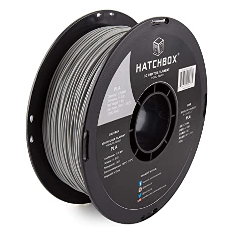 HATCHBOX PLA 3D Printer Filament, Dimensional Accuracy +/- 0 03 mm, 1 kg  Spool, 1 75 mm, Gray