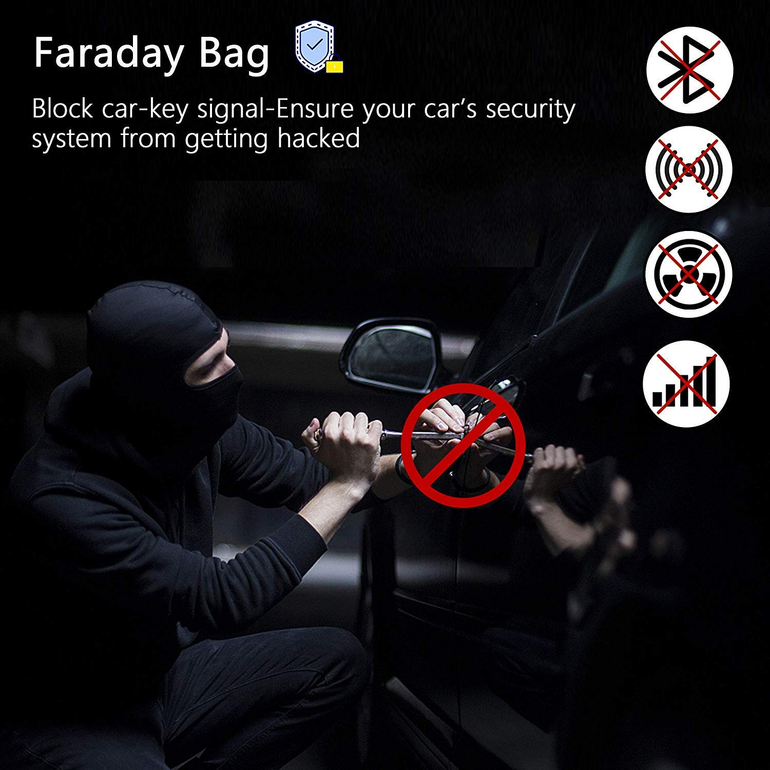 Faraday Bag for Car Keys Keyless Entry Fob Guard RFID Blocking Bag Key Case for Car Interior Accessories Black OneCut Car Key Signal Blocker Case
