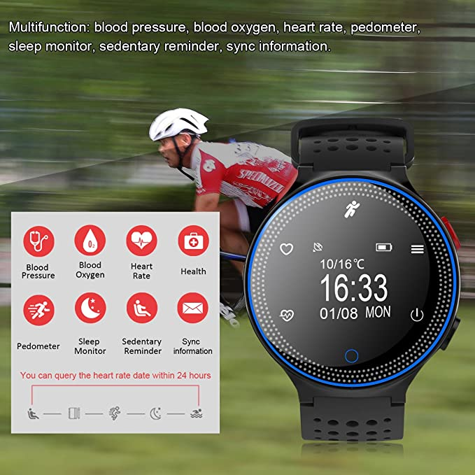 Amazon.com: Padgene Sports Bracelet, Bluetooth 4.0 Fitness Activity Tracker IP68 Waterproof Smart Watch Sport Tracker Health Wireless Monitor Wristband with ...