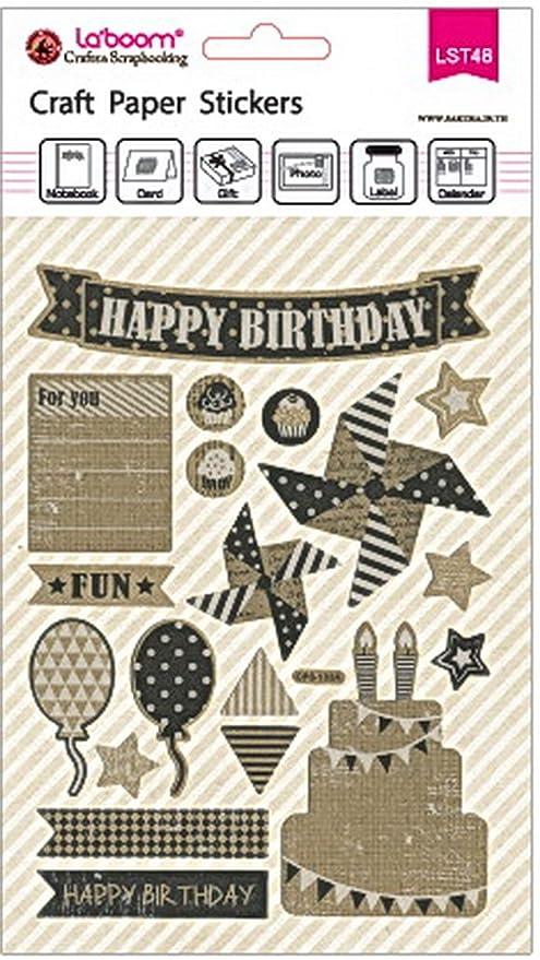 Papel de estraza feliz cumpleaños pegatinas para ...