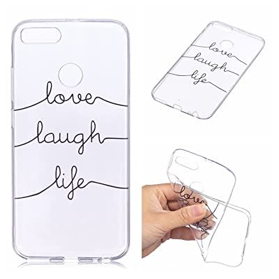 Qiaogle Teléfono Caso - Funda de TPU Silicona Carcasa Case Cover para Xiaomi Mi A1/Mi 5X (5.5 Pulgadas) - HX95/love Laugh Life
