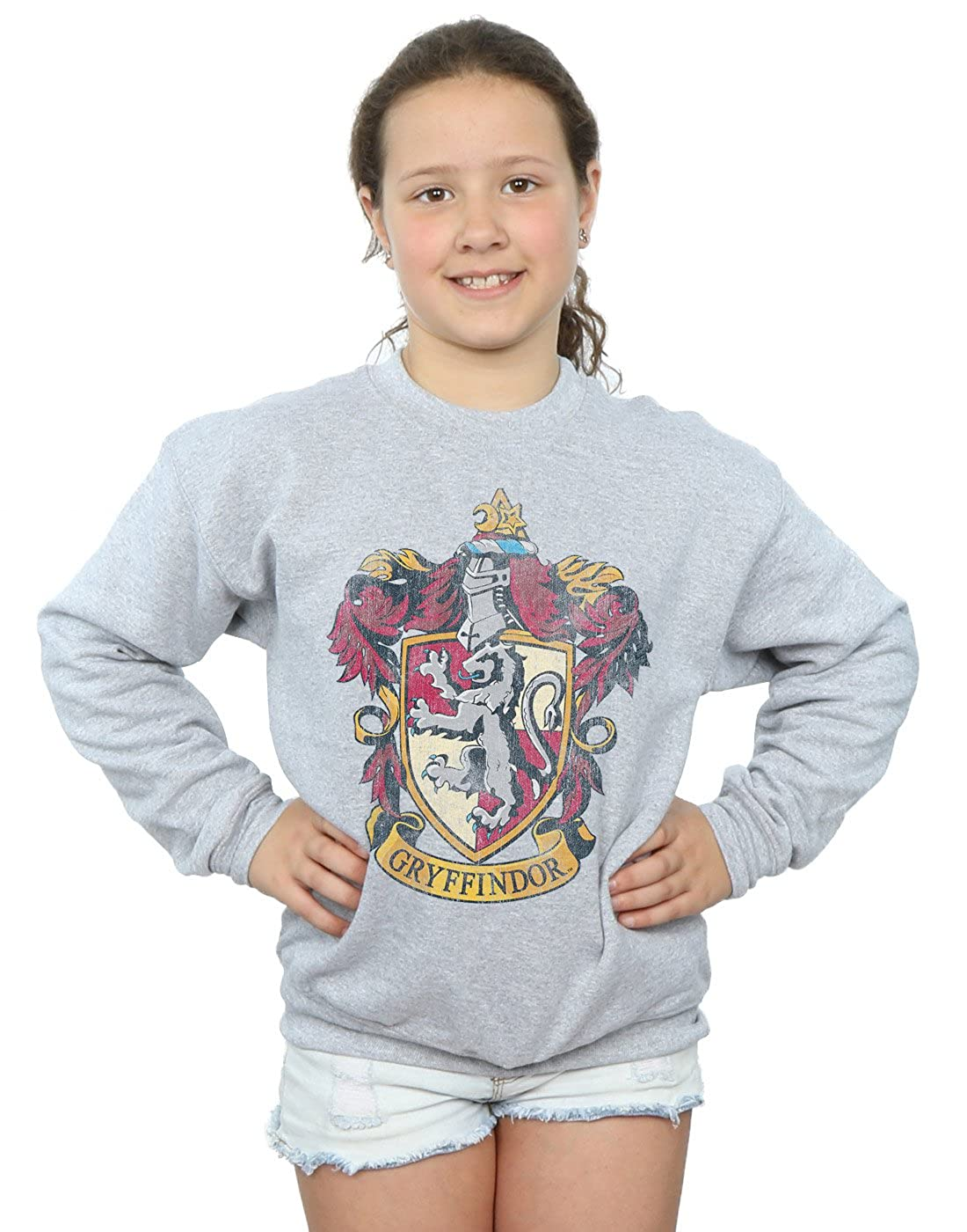 Harry Potter niñas Gryffindor Distressed Crest Camisa De Entrenamiento Absolute Cult