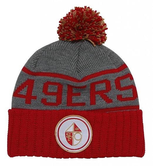 Amazon.com  San Francisco 49ers High 5 Grey Cuffed Pom Knit Beanie ... 89f5e0350