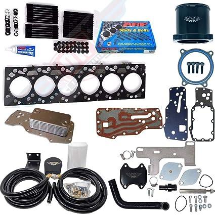 MAHLE Head Gasket With ARP Head Stud Kit Oil Cooler EGR Valve Kit Coolant Filtration Kit For 2007 2017 Dodge 6 7L 6 7 Cummins 2500 3500 Head Gasket