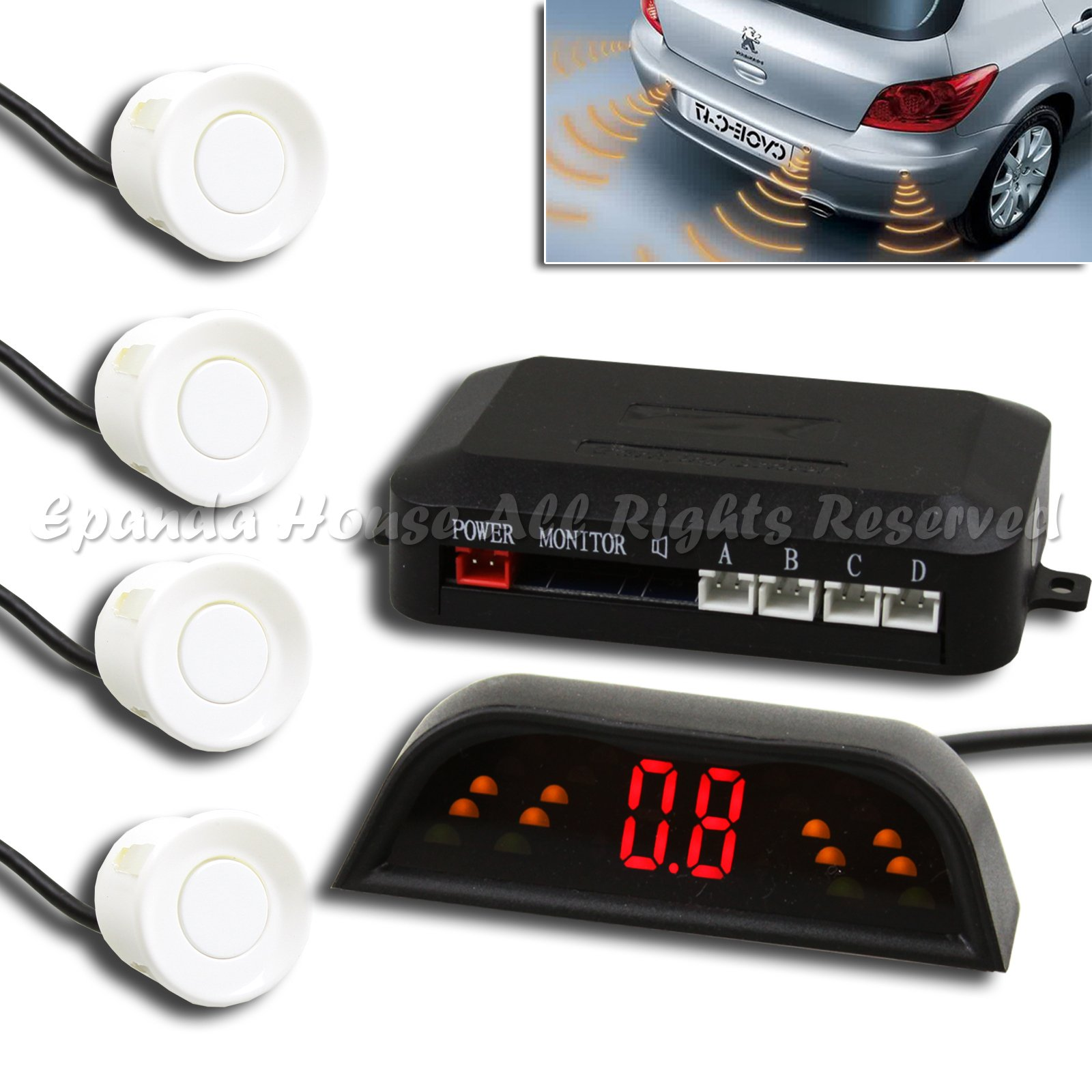 1X After Market Wireless Parking Backup Reverse Sensor Radar Kit 4Pc White Led by EpandaHouse (Image #1)