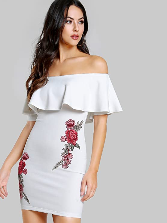 b9b5bac2471 Floerns Women s Embroidered Flower Applique Off The Shoulder Ruffle Dress  at Amazon Women s Clothing store