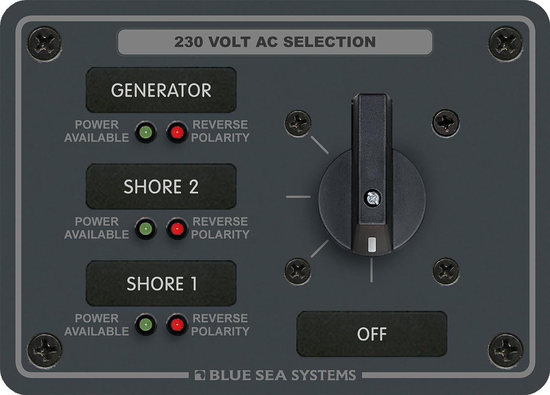 30 Amperes, 3 Posiciones + Off, 2 Polos Blue Sea Systems AC Panel de Interruptor Giratorio