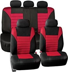 FH Group FB068RED115 Universal Car Seat Cover (Premium 3D Air mesh Design Airbag and Rear Split Bench Compatible Red)