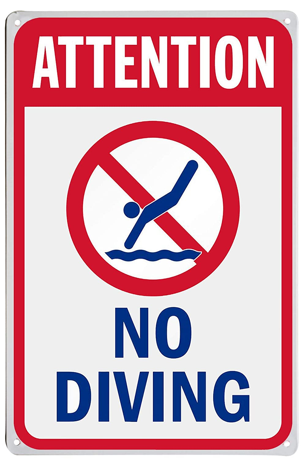 "LASMINE""Attention -No Diving"" Sign Pool Signs Sign No Diving Swimming Warning High Cost Free Parking Pools Mount Caution Chemical Safety Gifts 8X12Inch"