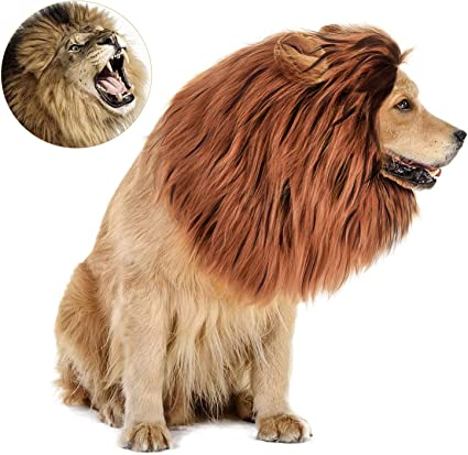Dog Lion Mane Custome-Lion Wig for Dog Halloween Party Costumes Lion Wig Dog Mane Costume Medium to Large Sized Dogs Lion Mane Funny Party Suppliers Costume