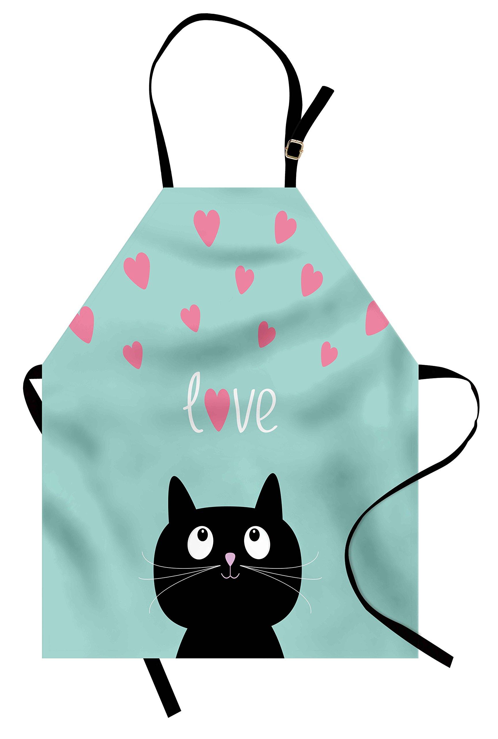 Lunarable Valentines Apron, Kitty Heart Figures Cat Lovely Companions Kids Children Illustration, Unisex Kitchen Bib Apron with Adjustable Neck for Cooking Baking Gardening, Seafoam Pink Black
