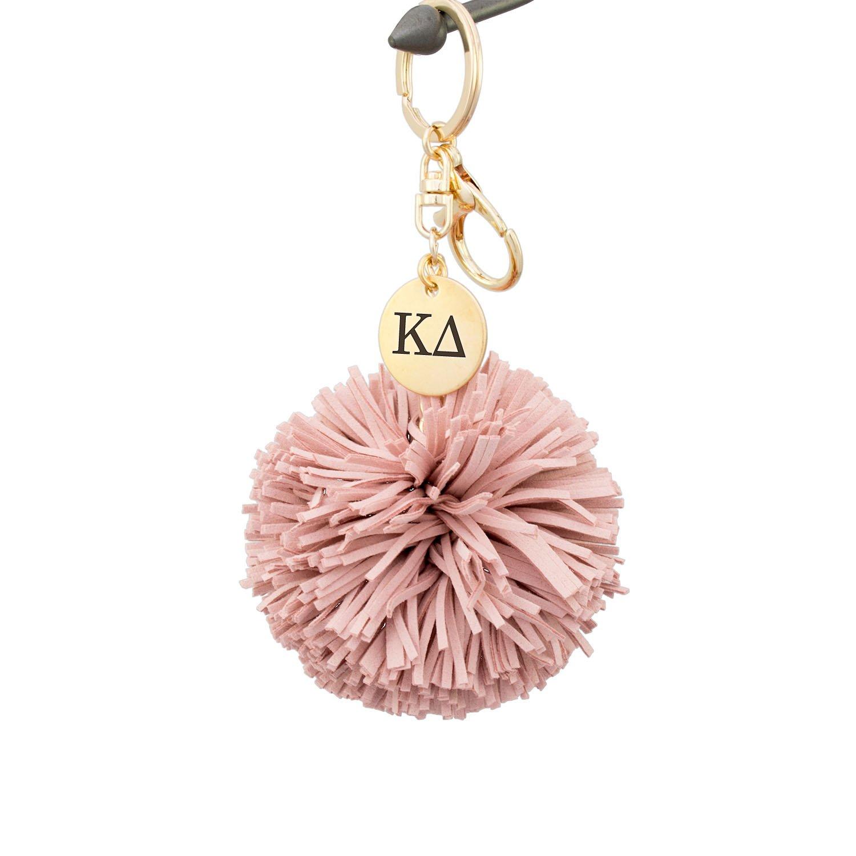 A-List Greek Kappa Delta Pom Tassel Keychain Sorority Key Chain with Laser Engraved Charm - Color Blush