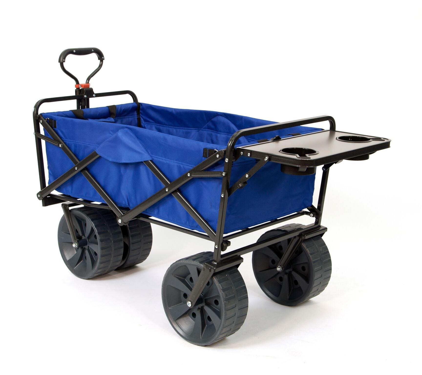 Mac Sports Heavy Duty Collapsible Folding All Terrain Utility Wagon Beach Cart (Blue/Black with Table)