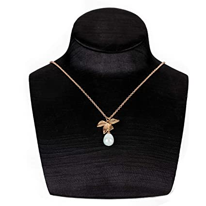 Orchid Flower Necklace Pendant With Simulated Pearl Charm Long Silver Gold Chain
