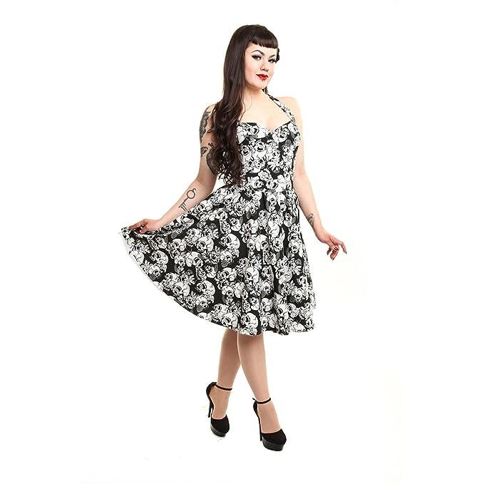 Rockabella Floral Calavera Rosa Rockabilly Vintage Alternativa Vestido Blanco y Negro