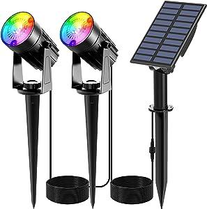 T-SUNUS Color Changing Solar Spot Lights Outdoor, RGB LED Landscape Lights IP65 Waterproof Solar Garden Pathway Lights Trees Lights