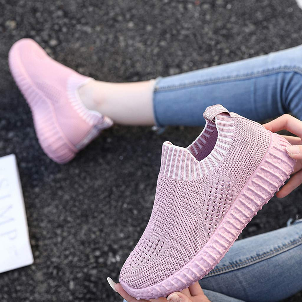 Womens Breathable Mesh Sport Shoes Cushioned Insole Lightweight Slip On Sneakers Casual Loafers Shoes with Soft Sole