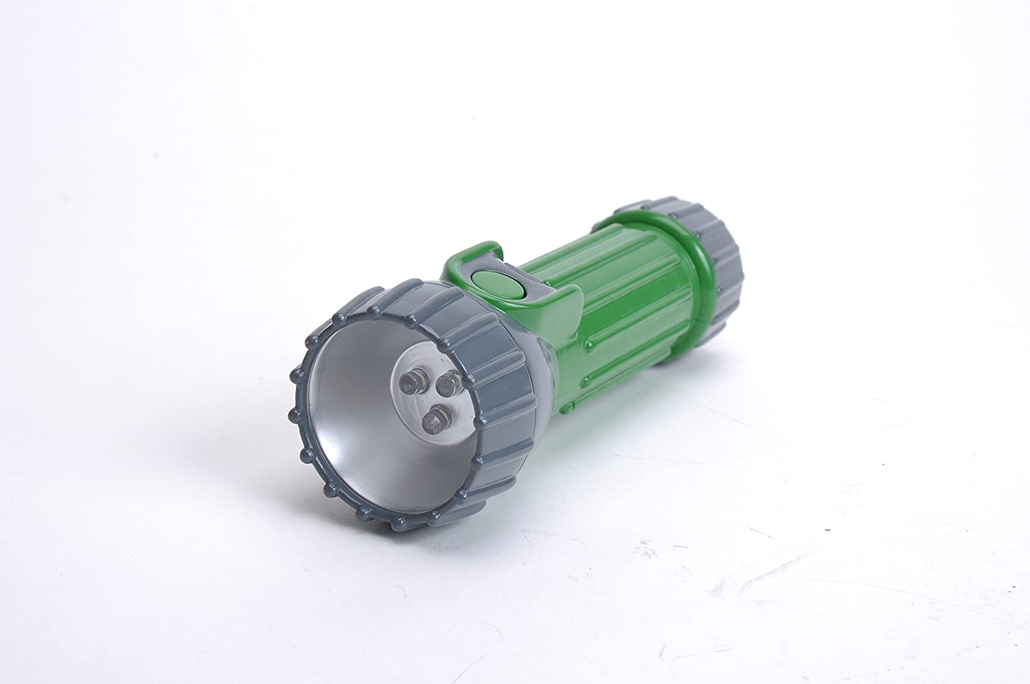 Image of a flashlight in gray and green color, lens facing front.