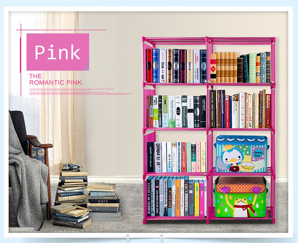Vividy 4 Shelf Adjustable 8 Cube Bookcase, DIY Bookshelf for Kids Boys Girls, Home Book Storage Furniture (Pink)