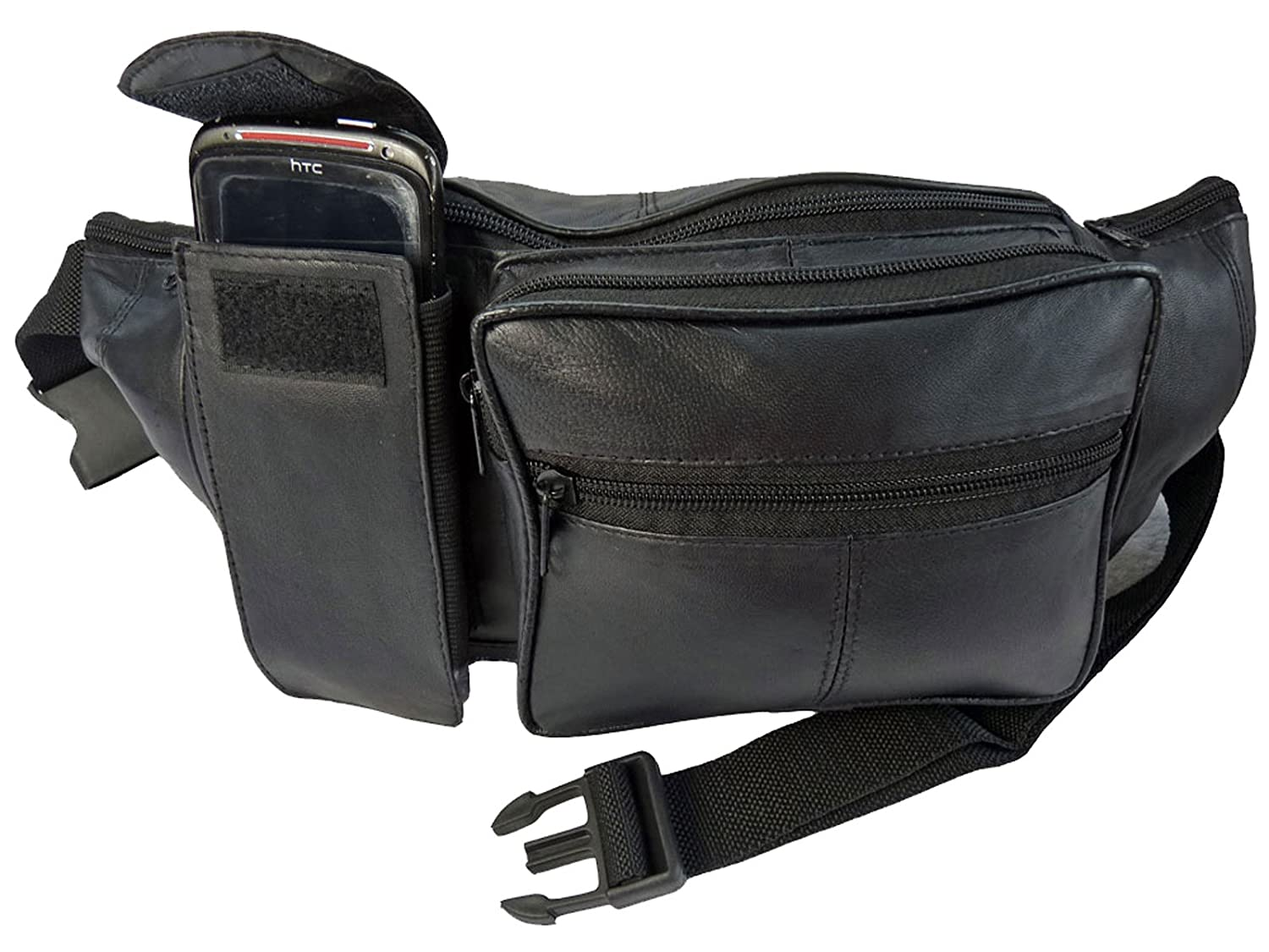 Extra Large Leather Bumbag - Soft Real Leather Bum Bag - 34 to 52 Inch Size Waist - 6 Zipped Pockets - Elasticated Smart Phone Pocket - Plain Black - Ideal For Holidays, Travel and Festivals - RL276 RL276K