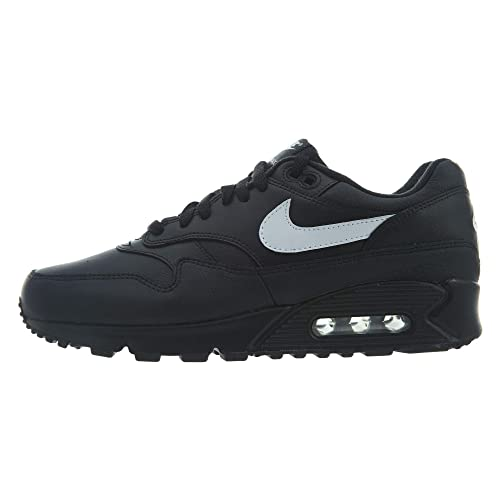outlet store bbac6 370c8 Nike Air Max 90/1 Black White Leather Running Mens