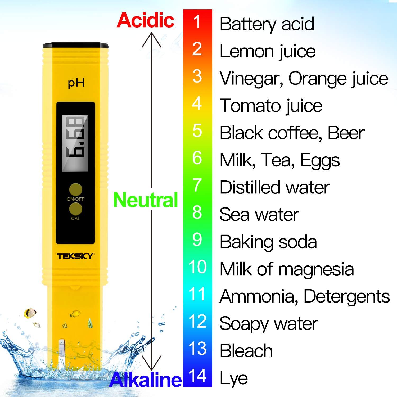 TekSky Digital pH Meters - 0.01pH Accuracy, 0-60 Celsius, 0-14 PH Measurement Range - Food Brewing Drinking Hydroponics Aquariums Pools Spa - Calibration Powders, Sensitive Probe Design with ATC by TekSky (Image #7)