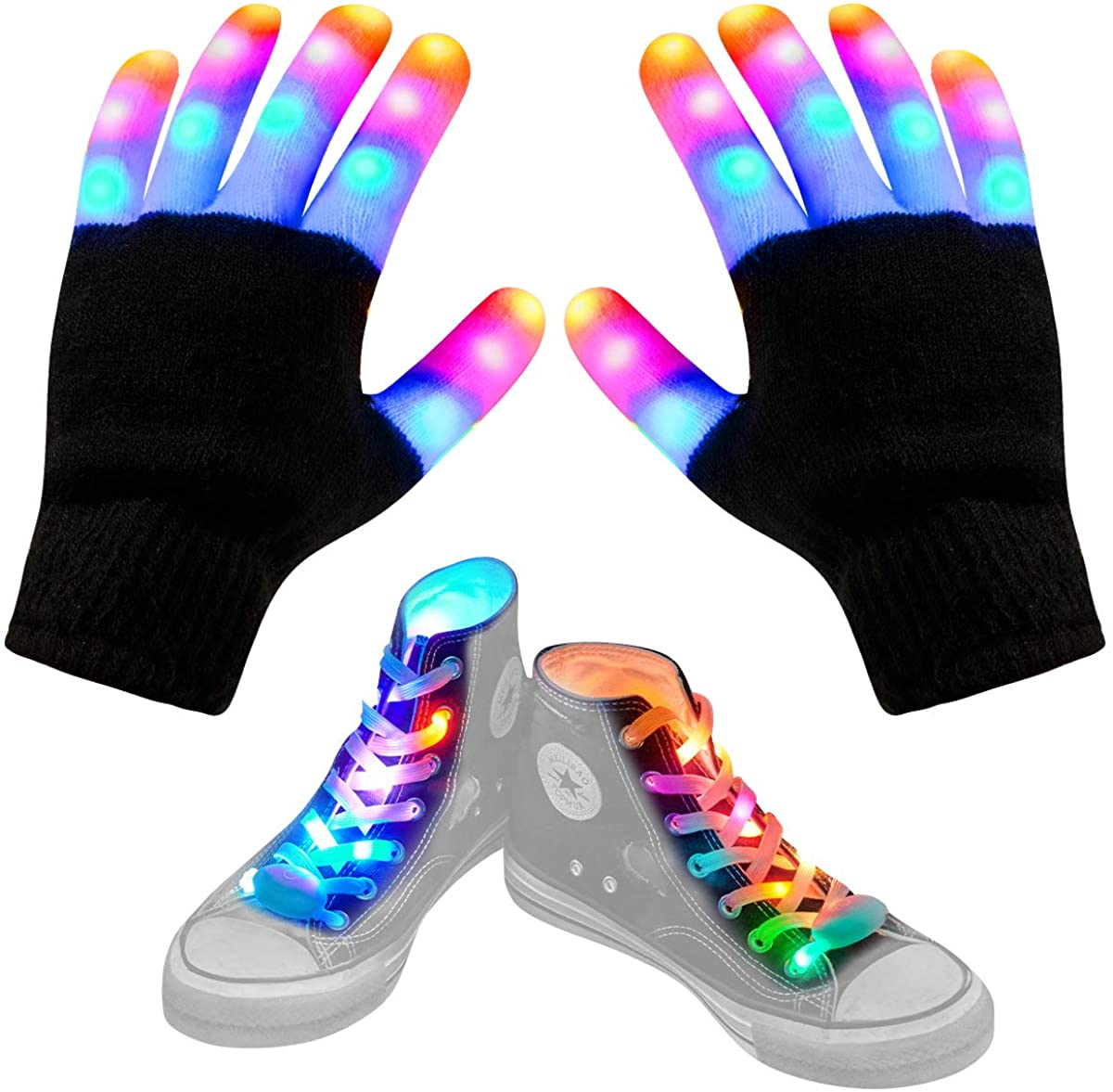 Aywewii Led Finger Gloves, Led Gloves LED Shoelaces Set Light Up Toys for Boys Girls, Flashing Gloves for Christmas Thanksgiving Birthday Glow Halloween Costume Party: Clothing