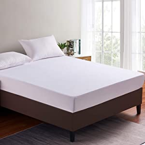 """Home Beyond Premium Waterproof Hypoallergenic Terry Top Mattress Protector, (15"""" - 18"""") Deep Pocket Fitted Mattress Cover, Vinyl Free, Twin"""