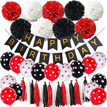 Inby Black And Red Mickey Mouse Happy Birthday Party Decoration Set Minnie Mouse Party Supplies Kit