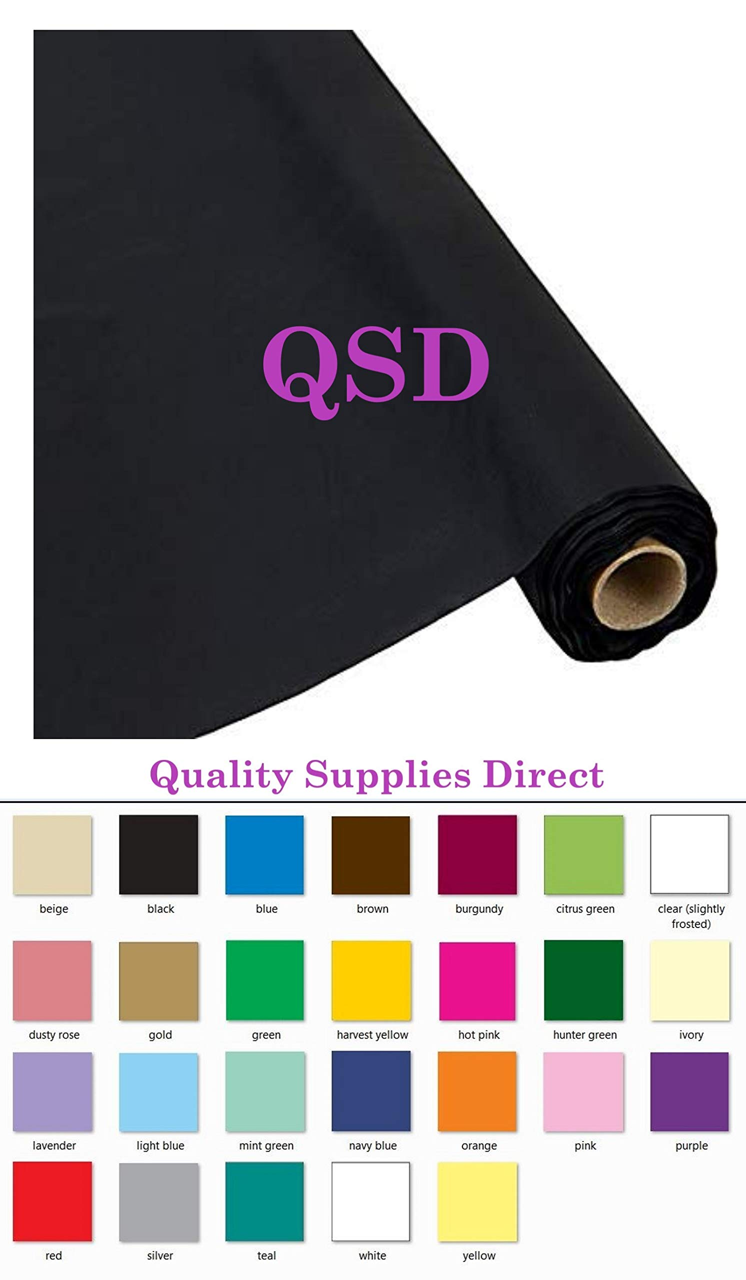 QSD Plastic Party Banquet Table Cover Roll - 300 ft. x 40 in. - 8ft Table Covers (Black) (26 Colors Available) by QSD