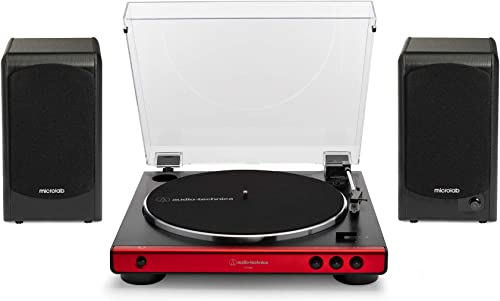 Audio Technica AT-LP60X-RD Turntable Red Bundle with Microlab Pro1 Powered Bookshelf Speaker Pair 2 Items