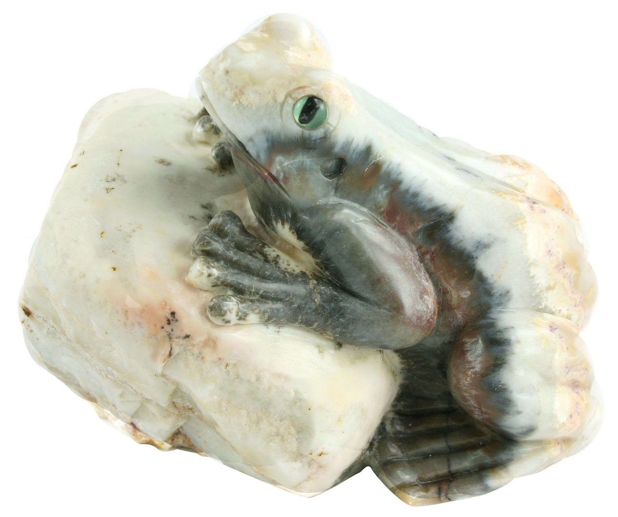 One of a Kind Frog Carving in Natural Agate Collectible Item
