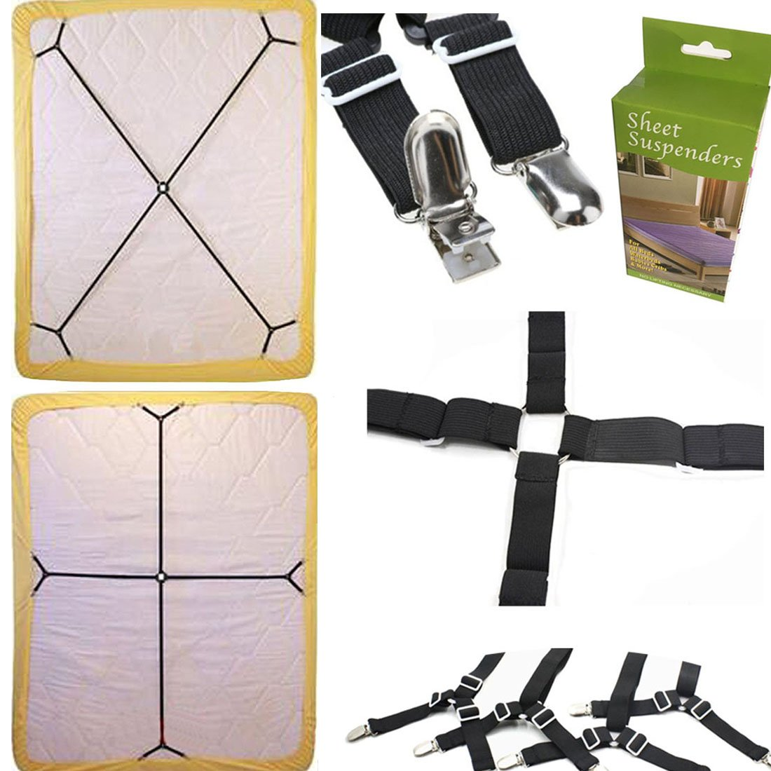 FlyingP Sheet Bed Suspenders Bed Bands Crisscross Adjustable Bed Fitted Sheet Straps Suspenders Grippers Clippers Bed Holder Elastic Sheet Strap Fasteners Mattress Pad Duvet Cover HEAVY DUTY Flying penguins COMIN18JU069481