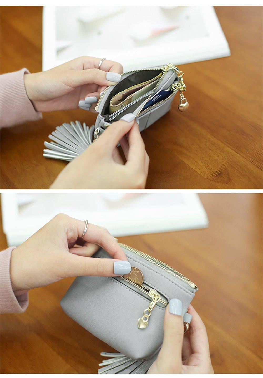 Womens RFID Blocking Slim Key Holder Wallet Card Holder Coin Cash Key Organizer with Ring Tassel (#2 Pink) by IFUNLE (Image #5)