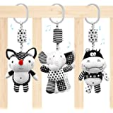 Euyecety Hanging Rattles Toys White & Black Stroller Toy, Newborn Toys Infant Toys Crib Toys, Soft Plush for Stroller Car Sea