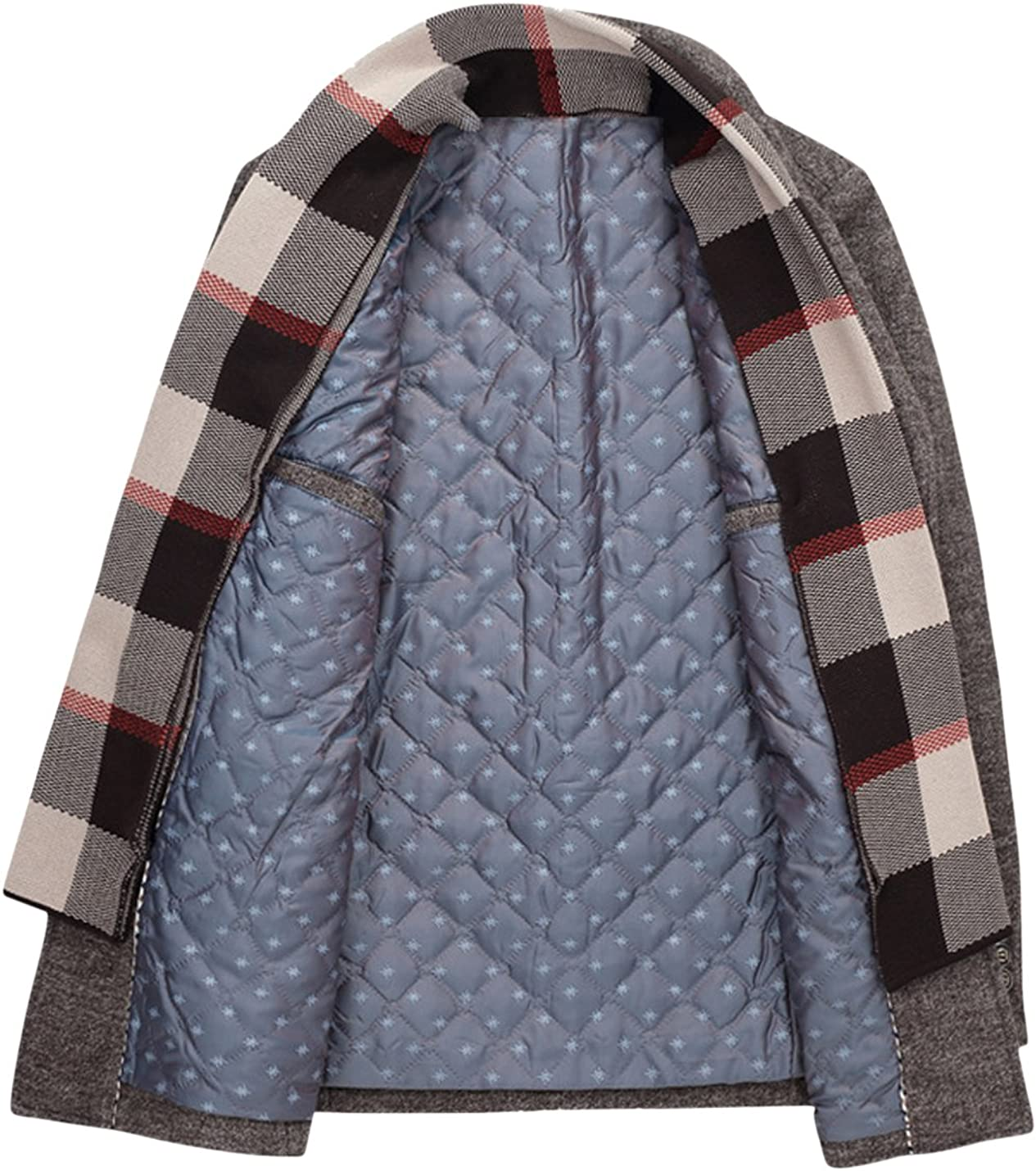 Springrain Mens Lapel Detachable Scarf Outerwear Thicken Cotton-Padded Wool Coats