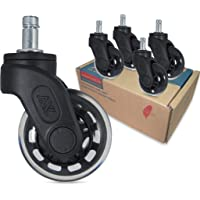 AXL 2.5 Inch Office Chair Caster Wheels (Set of 5) Heavy Duty Replacement PU Chair Wheels, Protect All Floors