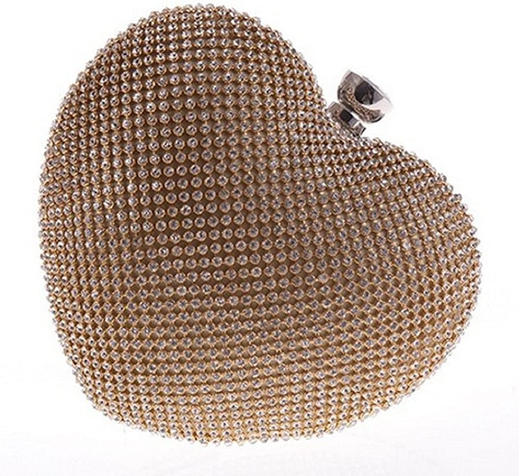Bettyhome Women Luxurious Full Rhinestone Heart Style Chain Clutch Evening Bag Purse