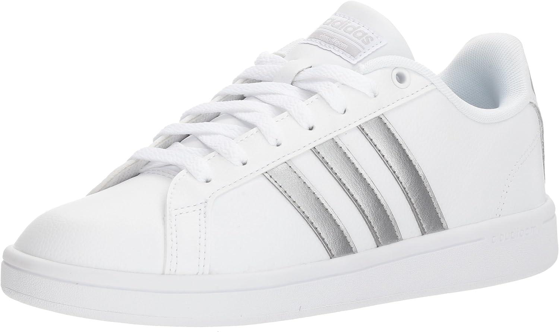 adidas Originals Women's Cloudfoam Advantage Sneaker, FTWR White, Silver met, core Black, 10 M US