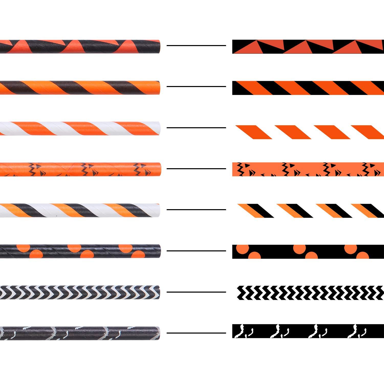 8 styles noir//orange m/élange de pailles pour fournitures de mariage et de f/ête Tupa Lot de 200 pailles en papier biod/égradables /à rayures bicolores