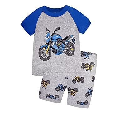 e41ac52e9 Goldtreasure Little Boys Motorcycle Pyjamas Set 100% Cotton 2 Pieces ...