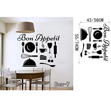 Chitop Bon Appetit Food Wall Stickers - Kitchen Room Decoration DIY Vinyl Adesivo De Paredes -