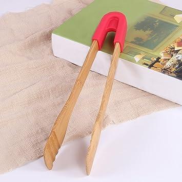 Pinzas de bambú y silicona para barbacoa de alimentos, para tostadora, cocina, cocina